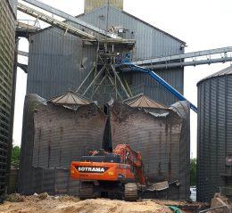 demolition silo quimperle industrie pelleteuse bretagne